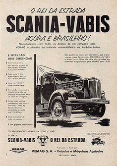 Propaganda da Vemag, de agosto de 1958, anunciando o primeiro Scania-Vabis nacional.