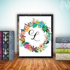 Monogram Art Nursery Letter Print Girl Wall by PrintableWisdom