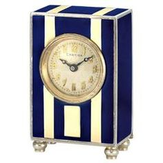Cartier Art Deco Sterling Silver and Enamel Miniature Desk Timepiece circa 1920s