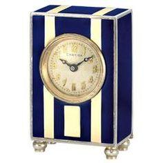 Cartier Art Deco Sterling Silver and Enamel Miniature Desk Timepiece circa 1920s