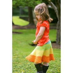 The skirt is knit entirely in the round from top down. It begins with a provisional cast on, which is used to allow for a knitted on waistband. The amount of flare and length of the skirt is customizable.Sizes: 0-6m, 6-12m, 12-18m, 1-3T, 2-4T, 4-6 year old, 6-8 year old, 8-10 year old, 10-12 year old, 12-14 year oldDK yarn yardage requirements: 150, 250, 275, 310, 360, 470, 550, 600, 650, 700 Gauge 22sts x 29 rows = 4 inchesWorsted weight yarn yardage requirements: 125, 200, 245, 275, 330…