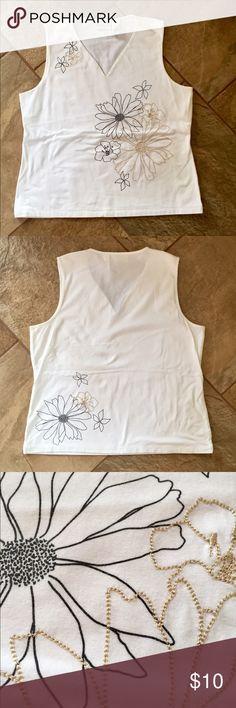 LIZ CLAIBORNE Floral Tank Top NWOT!!! White with floral detail on front & back, V-neck, very soft! Liz Claiborne Tops Tank Tops