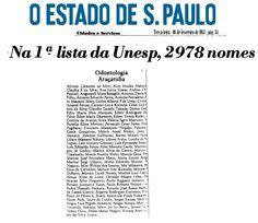 Aprovados Vestibular de 1983 em Odontologia  - Entre os aprovados: Paulo Renato Junqueira Zuim e Osvaldo Magro Filho. Atualmente docentes da FOA