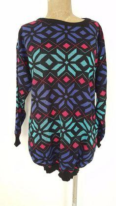 Ugly Christmas Sweater Dress Size Large Mini Snowflake Xmas Winner Vintage 80s #McGregor #Crewneck