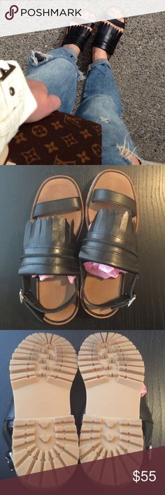 Zara leather sandals with fringe size 37 Zara leather sandals with fringe size 37 US 7. Only worn once, but in like new condition Zara Shoes Sandals