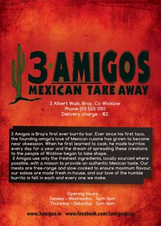 Front of menu for 3 Amigos: New Mexican takeaway in Bray - due to open Friday November Mexican Bar, November 2013, A5, Menu, Friday, Restaurant, Graphic Design, Learning, 3 Friends