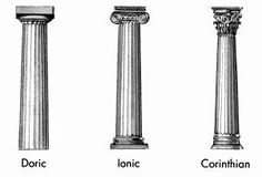 Doric Ionic Corinthian - The ancient Greek columns and their capitals. Ancient Greek Architecture, Types Of Architecture, Classic Architecture, Greece Architecture, Romanesque Architecture, Roman Architecture, Roman Columns, Corinthian Columns, Corinthian Order