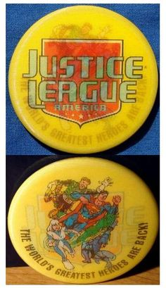 """Chuck's Stuff has this JLA/Justice League America lenticular promo button for sale for $10. Only given out at the Diamond Comics Retailer seminars in 1992, and not everyone got one. Never put into retail production, very few made. Round 2.25"""" diameter, pinback. 2 channel image, with title logo on one, and team shot on other. Superman in the middle, Guy Gardner Green Lantern, Blue Beetle and others. #justiceleague"""