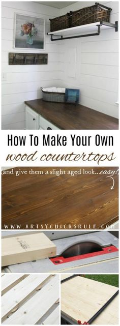 How To Make Your Own Wood Countertops (and give them a slight aged appearance too!!) artsychicksrule.com #woodcountertops #diywoodcountertop