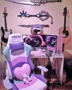 Cute Bedroom Decor, Bedroom Setup, Room Design Bedroom, Room Ideas Bedroom, Gaming Room Setup, Pc Setup, Otaku Room, Pastel Room, Neon Room