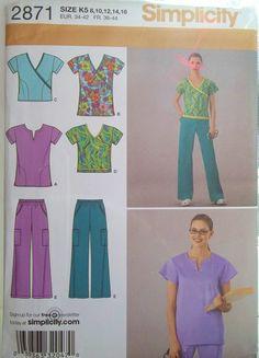 Misses' Scrub Tops Elastic Waist Uniform Pants by WitsEndDesign