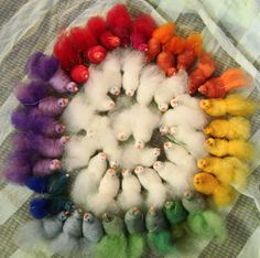 Wool bird tutorial-yes found this one.  It looks relatively easy and wow, when there are a rainbow of them it is pretty neat!