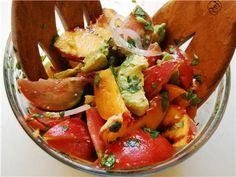 tomato, peach, avocado and red onion salad.