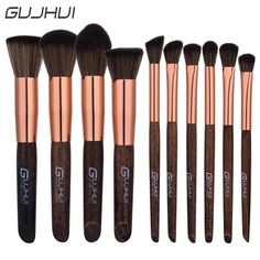 GUJHUI New Arrival 10/6 Pieces Wood Handle Cosmetic Makeup Brush Set Professional Soft Fiber Nylon Make Up Brushes Tool Kit #Affiliate