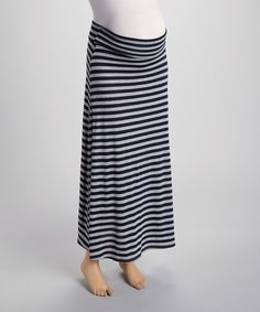 Take a look at the Anticipation Heather Gray & Navy Stripe Maternity Maxi Skirt on #zulily today!