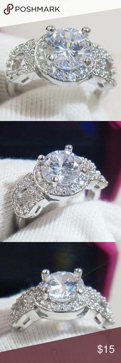 Swarovski Crystal Round Cut Silver Ring Size 7 Brand new. Size 7 Swarovski Jewelry Rings