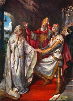 The Marriage of King Arthur and Queen Guinevere. Illustration for Children's Stories from Tennyson by Nora Chesson (Raphael Tuck, c 1905).