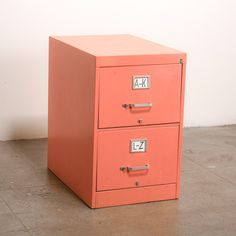 Peach File Cabinet / old file cabinet and a can of spray paint