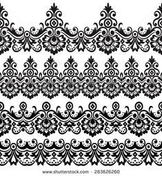 Stock Images similar to ID 171398015 - set of green floral border Motif Design, Border Design, Pattern Design, Zardozi Embroidery, Crewel Embroidery, Indian Henna, Border Embroidery Designs, Illustration, Floral Border