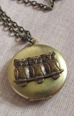Nature Vintage Inspired Antiqued Gold Raw Brass Locket Necklace