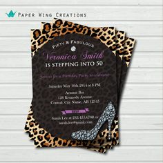 50 and fabulous 50th birthday invitation. by ThePaperWingCreation, $15.00