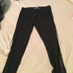 """SO brand grey leggings Charcoal grey heather leggings with zippers on each leg. Brand new without tags. Better for those shorter than 5'4"""", or they won't be boot cut. SO Pants Leggings"""