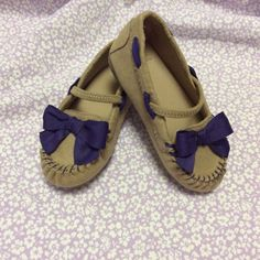 Gymboree Girls New size 7 Faux Suede Moccasin with Purple Bow #Gymboree