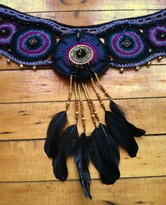 Tribal fusion inspired crochet pocket belt by HorizonsEd3e on Etsy, $76.00 #festivalclothing #hoopclothing