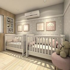 Outstanding baby nursery detail are offered on our website. Have a look and you wont be sorry you did. Twin Baby Rooms, Twin Baby Girls, Baby Bedroom, Baby Room Decor, Kids Bedroom, Twin Room, Nursery Twins, Nursery Room, Small Twin Nursery