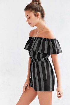 Striped off the shoulder romper: http://www.stylemepretty.com/living/2016/05/25/14-off-the-shoulder-pieces-thatll-add-sexy-to-your-summer-wardrobe/