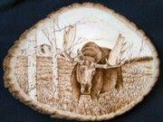 Wood-Burning Art Pyrography | Wood Burning Art Pyrography - Bull Moose on Basswood by Adam Owen