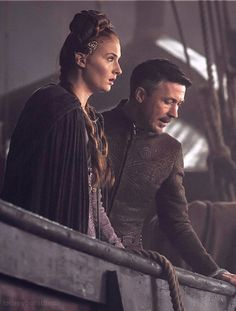 Sansa Stark and Petyr Baelish, Game of Thrones. He's such a little bitch isn't he?