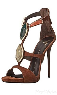 Giuseppe Zanotti Stone Ornaments Italian Leather Dress Sandal