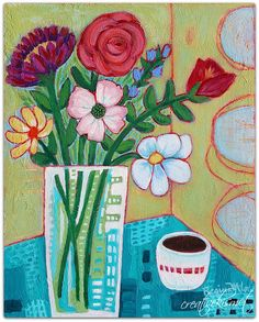 Bouquet on Red Table 8×10 acrylic on cradled wood panel The Space Between 12×12…