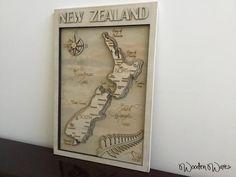 WoodenWares Designed Map of New Zealand - Layered Plywood - Kiwi - Maori - Brisbane Australia