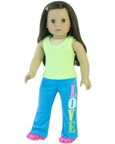 "18 Inch Doll Outfit Yoga 2 Pc. Set Fits American Girl Doll Clothes & More! Popular Rhinestone Lime Green Tank Top & Teal Blue Embroidered ""LOVE"" Pants by Sophia's, http://www.amazon.com/dp/B00CBKRXA2/ref=cm_sw_r_pi_dp_zQMHsb04QNJT2"