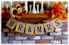 MR+&+MRS+Burlap+Banner+with+sunflowers+or+daisy+by+BeforeYouSayIDo,+$18.00