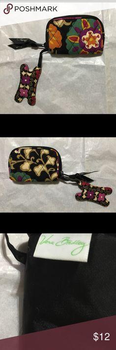 """Vera Bradley Coin purse w/attached fob Suzani 2011 Vera Bradley Coin purse w/attached fob Suzani 2011.  NWOT never used.  4""""x3"""" zip closure. Classic! Vera Bradley Bags"""