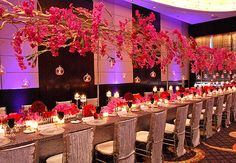Suspended floral arrangements and candles