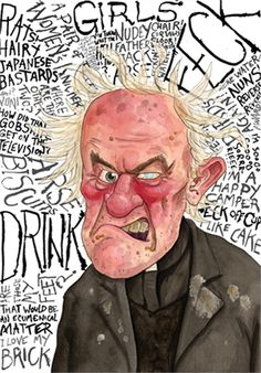 'Father Jack' Signed Open Edition Illustrative Print based on the popular 'Father Ted' TV series, produced on heavy high-quality watercolour paper British Humor, British Comedy, Macbeth Witches, Mrs Browns Boys, Father Ted, Comedy Tv Shows, Uk Tv, Caricature Drawing, Drawing Skills