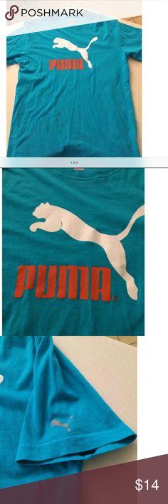PUMA No. 1 Logo Tee shirt Blue/white/Orange Large PUMA #1 LOGO TEE EXCELLENT CONDITION CREW NECK white cat/orange writing/grey cat on right sleeve Shirts Tees - Short Sleeve