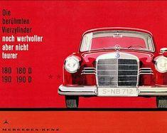 Mercedes Benz The Famous 4 Cylinder - Vintage Poster Art Print Retro Style Vintage German Car Auto Advertising Free US Post Low EU Postage