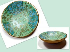Mint Green Ring Dish polymer clay Bowl Jewelry by BeadazzleMe *Customer Review of Ring Dish: I was able to customize this ring dish with my friends initials and engagement date. It made a perfect engagement gift. My friend loves the colors and we are both very happy with the final product! Sherri is very responsive and open to customizing. I enjoyed working with her and would definitely recommend this shop!