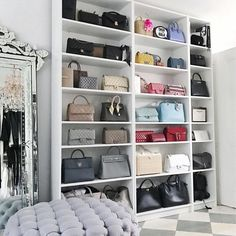 25 Ideas for bedroom closet organization purses handbag storage Bag Closet, Wardrobe Closet, Closet Bedroom, Closet Space, Bedroom Decor, Master Bedroom, Walk In Closet Design, Closet Designs, Bedroom Designs