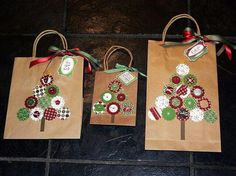 DIY Decorated Gift Bags ~ Christmas Gift Bags ~ based on a design in the Stampin' Up! Diy Paper Bag, Paper Gift Bags, Paper Gifts, Christmas Gift Bags, Christmas Gift Wrapping, Kids Christmas, Craft Bags, Craft Gifts, Diy Gifts