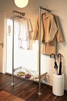 DIY pipe clothing rack- shoe shelves instead of basket Home Organization Hacks, Closet Organization, Storage Hacks, Diy Storage, Coat Storage, Fabric Storage, Extra Storage, Storage Shelves, Closet Shelving