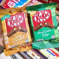 . ❗️NEW❗️KitKat 🇦🇺 Gooey Caramel 🍮 & Mint Cookie Fudge 🍃🍫 جديد كتكات قووي كراميل ومنت كوكي فدج . . 💥New Aussie KitKats at London… Kit Kat Flavors, Buttered Corn, White Chocolate, Pop Tarts, Fudge, Caramel, Snack Recipes, Candy, Sticky Toffee