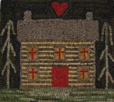Hand Made Primitive Hooked Rug Log Cabin Folk Art Early Style Ebay Hooking Designs