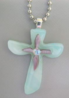 Fused glass cross necklace by KerrysGlass on Etsy