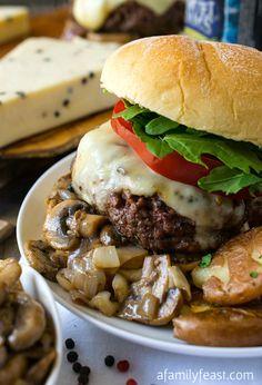 Peppercorn Burger by afamilyfeast:  With a wonderful peppercorn crust. #Burger #Peppercorn #Mushrooms #Shallots